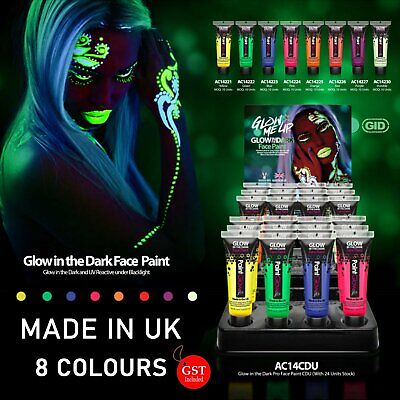 1X Glow in the dark Face Body UV Paint 10ml light Fluoro Party Costume Make Up