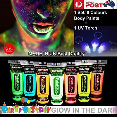 8x UV Glow Neon  in Dark Face Body Paint + 1 Free UV Torch Make up Fluoro Party