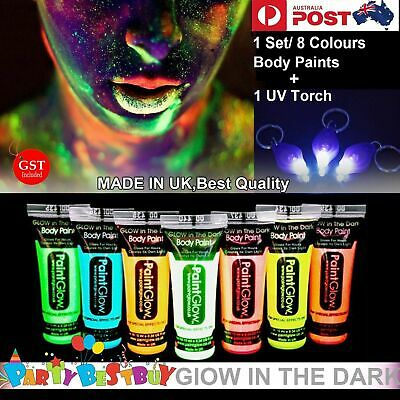 NEW 7X Glow in the dark Face Body  UV Paint 10ml Fluoro 1 UV Torch Make up Party