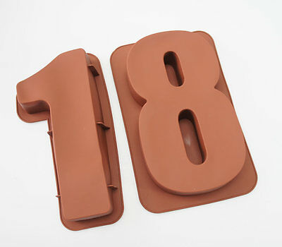 """LARGE 12"""" SILICONE NUMBER MOULDS 18 CAKE TINS BAKING PAN BIRTHDAY 18th MOLD"""