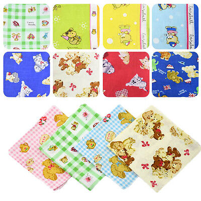Women Children Cute Vintage #U Lot Cartoon Cotton Handkerchiefs Quadrate Hankies