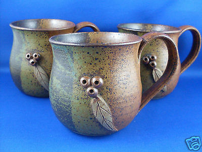 Stamped GUMNUT (3) Handcrafted Stoneware Pottery Mugs EXC ~ in Australia