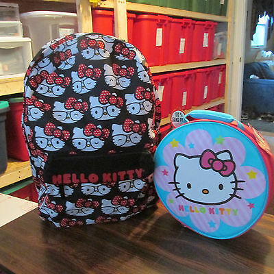 Hello Kitty Faces Deluxe  Backpack Canvas  & Lunchbox New With Tags