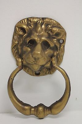 "VINTAGE Brass Small Lion Head Door Knocker ~ 5.5"" Long"