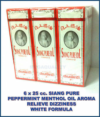 6x25cc. SIANG PURE PEPPERMINT MENTHOL OIL AROMA RELIEVE DIZZINESS WHITE FORMULAR