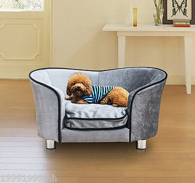 PawHut Pet Sofa Bed Dog Cat Cozy Puppy House Couch with Removable Cushion, Grey