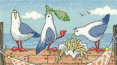 Heritage Crafts By The Sea Fish n Chips Cross Stitch Kit