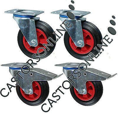 "Heavy Duty Rubber Swivel Castor Wheels, 4-Pack (200MM/8"")"