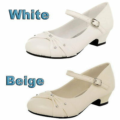 Rhinestone White Or Beige Girls Shoes Flower Girl Dress Party Shoes Size 8 to 4