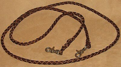 Leather Braided Roping Reins Scissor Snap Ends 7 Foot Long DARK OIL Horse/Pony