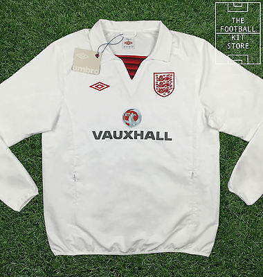England Drill Top White - Official Umbro Training Wear- Zip Pockets - Mens