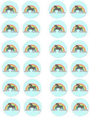 Unicorn Edible Cupcake / Fairy Cake Wafer Paper Toppers x 24