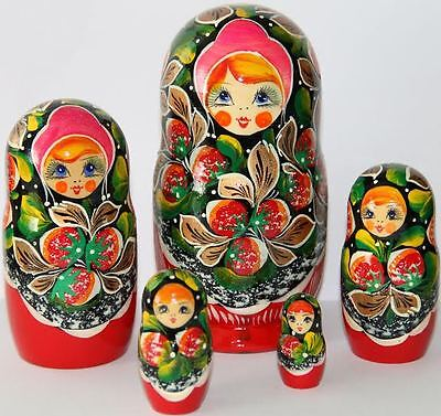 Matrioska bambole in legno con fragole rosse babuska russo matryoshka sets 5pc