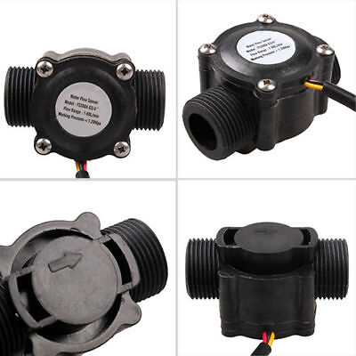 Black G3/4 Water Flow Sensor Switch Hall Effect Flow Meter Counter 1-60L/min New