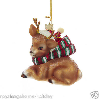 NB0880 NIB Lying Brown Baby Deer Reindeer w/ Scarf Hat Glass Christmas Ornament