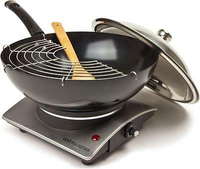 Andrew James Non Stick Electric Wok Hot Plate with Tempura Rack & Bamboo Spatula
