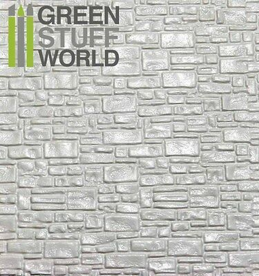 ABS Embossed White Plasticard - SMOOTH ROCK WALL - Styrene Plastic Sheets HIPS