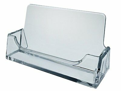 Lot of 10 Clear Plastic Business Card Holder Countertop Desktop Display AZM