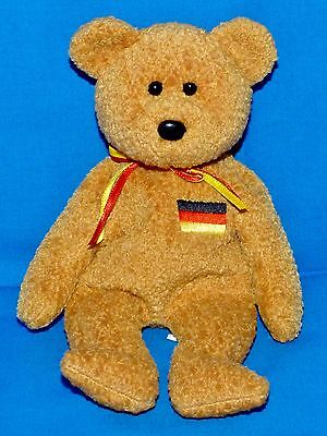 """Ty GERMANIA Flag Bear (Germany Excl) Brown (8.5"""") Beanie 1999 Boys Girls 3+ NT"""