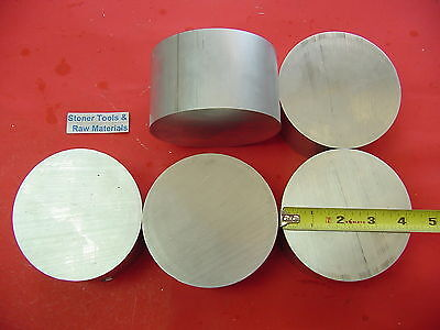 "5 Pieces 4-1/4"" OD ALUMINUM 6061 ROUND ROD 2"" LONG SOLID T6511 Lathe Bar Stock"