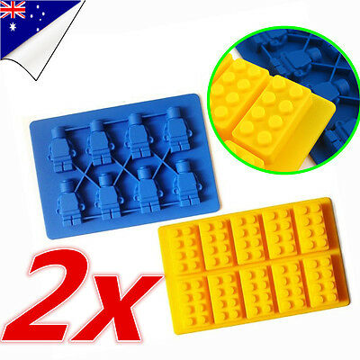 Lego Brick Ice Chocolate Cube Tray Minifigure Silicone Molds Jelly Moulds Block