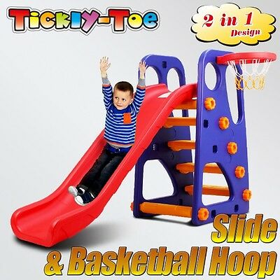 New Slide and Basketball Children Activity Center Indoor Outdoor Play Toys Set B