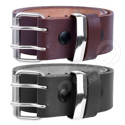 MENS LEATHER BELT Double Hole (100% GENUINE)Black/Brown 30'' to 64'' waist sizes