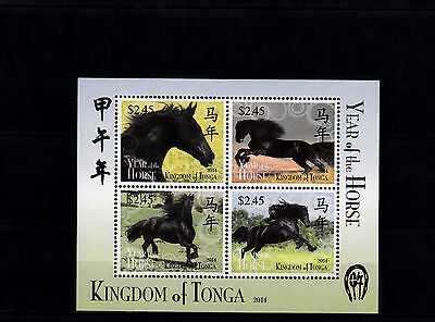 Tonga 2014 MNH Year of Horse 4v M/S Chinese Lunar New Year Zodiac