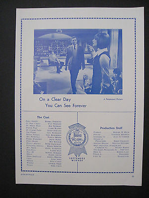 1972 Blue Ribbon Award SUNFLOWER/ON A CLEAR DAY Movie Scarce Trade Print Ad