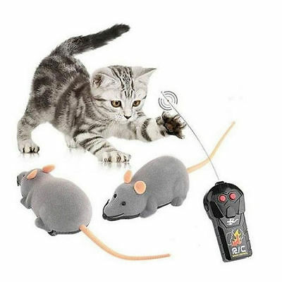 Remote Control RC Grey Rat Mouse Toy For Cat Dog Pet Novelty Gift Funny