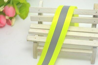 "New Reflective Lime Green Gray Tape Sew On 2"" Trim Fabric Material 3M = 10 Feet"
