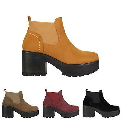 2f01603d0aea Womens Girls Kids Chunky Sole Casual Ankle Chelsea Shoes Boots Sizes 10-8