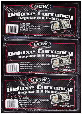 (150) Regular Bcw Deluxe Currency Sleeve Bill Note Holder Paper Money Semi Rigid