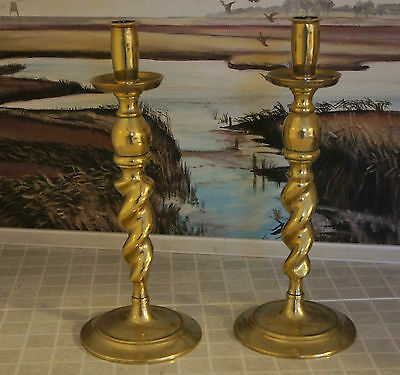 Vintage Victorian Large Brass Two Candlesticks ( Id 00E ),.,