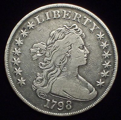 1798 BUST SILVER DOLLAR High VF+ Detailing BB-113 B-27 *RARE* Authentic Colonial