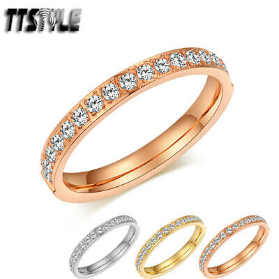 TTstyle Slim Stainless Steel Sparkling CZ Eternity Band Ring Choose Colour NEW