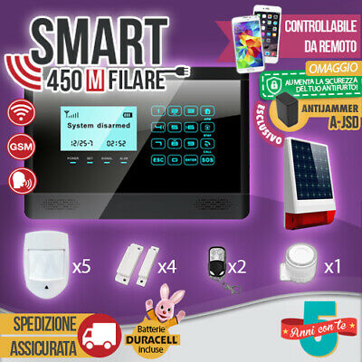 Kit Antifurto Casa Allarme Touch Screen Combinatore Gsm Filare Smart450M