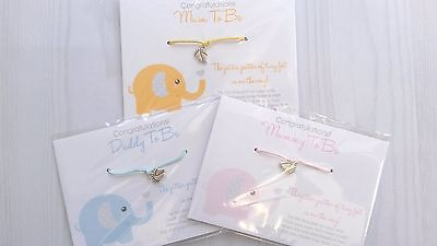 Wishing Bracelet - BABY ELEPHANT Mum/Dad To Be SHOWER Gift -Girl/Boy/Unisex Wish