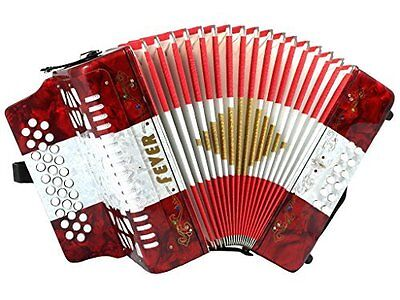 Fever Button Accordion 31 Keys 12 Bass on GCF Key, Red, White, Red. F3112