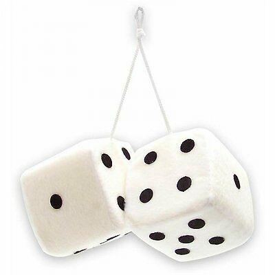 New White Hanging Mirror BIG 3-INCH Plush Fuzzy Funny Dice mopar touring model