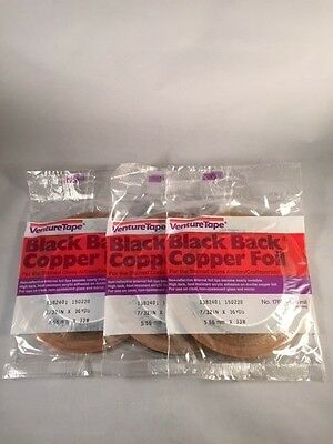 """7/32"""" Copper Foil BLACK BACK - 3 Rolls, Venture Tape, Stained Glass Supplies"""