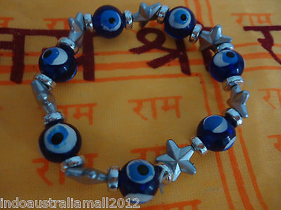 Fashion Stretchy Bracelet Blue  Evil Eye & Silver Painted  Beads (BR-P-CH69)