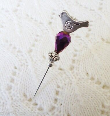 Silver Bird Purple Crystal HatPin ~Lapel Hat Brooch Stick Pin-Handmade