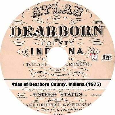 1875 Atlas of Dearborn County Indiana - Plat Maps Book on CD