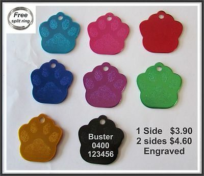 Pet ID Tag Engraved & ring Dog Cat Name Tags Personalised Customised NameTag Paw