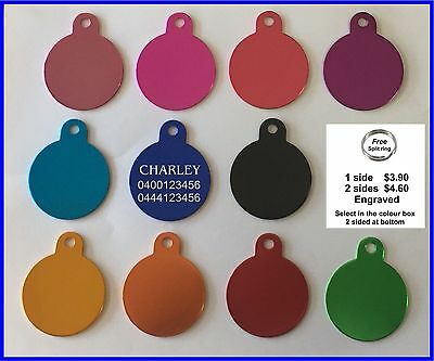Pet Tag Engraved & ring Dog Cat Name ID Tags Personalised Customised NameTag