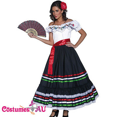Western Senorita Costume Mexican Spanish Dancer Flamenco Spain Fancy Dress + Fan