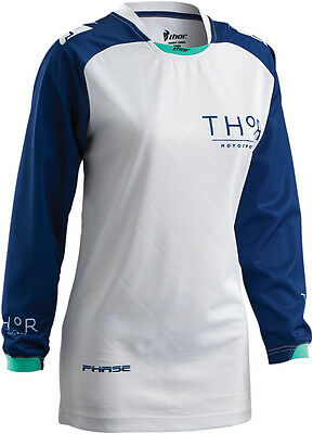 THOR MX Motocross 2016 WoMens PHASE Jersey (CLUTCH Navy/White) Choose Size
