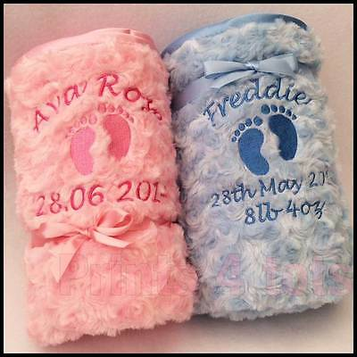 Personalised soft & fluffy blanket, babies details embroidered with footprints