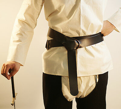 Medieval-Larp-Re enactment-Battle Ready BLACK LEATHER WRAP AROUND BELT 1.5 INCH